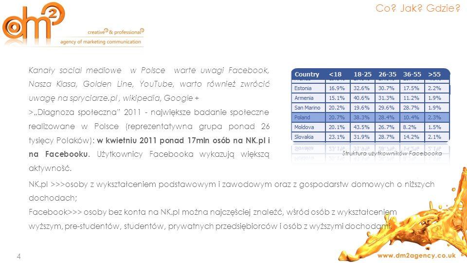 Kanały social mediowe w Polsce warte uwagi Facebook, Nasza Klasa, Golden Line, YouTube, warto również zwrócić uwagę na spryciarze.pl, wikipedia, Googl