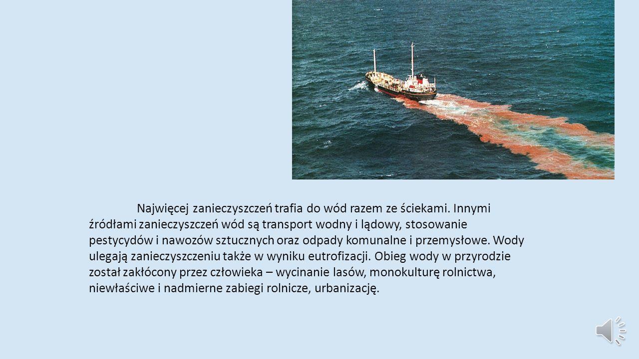 Zanieczyszczenie wód jest spowodowane głównie substancjami chemicznymi, bakteriami i innymi mikroorganizmami, obecnymi w wodach naturalnych w zwiększonej ilości.
