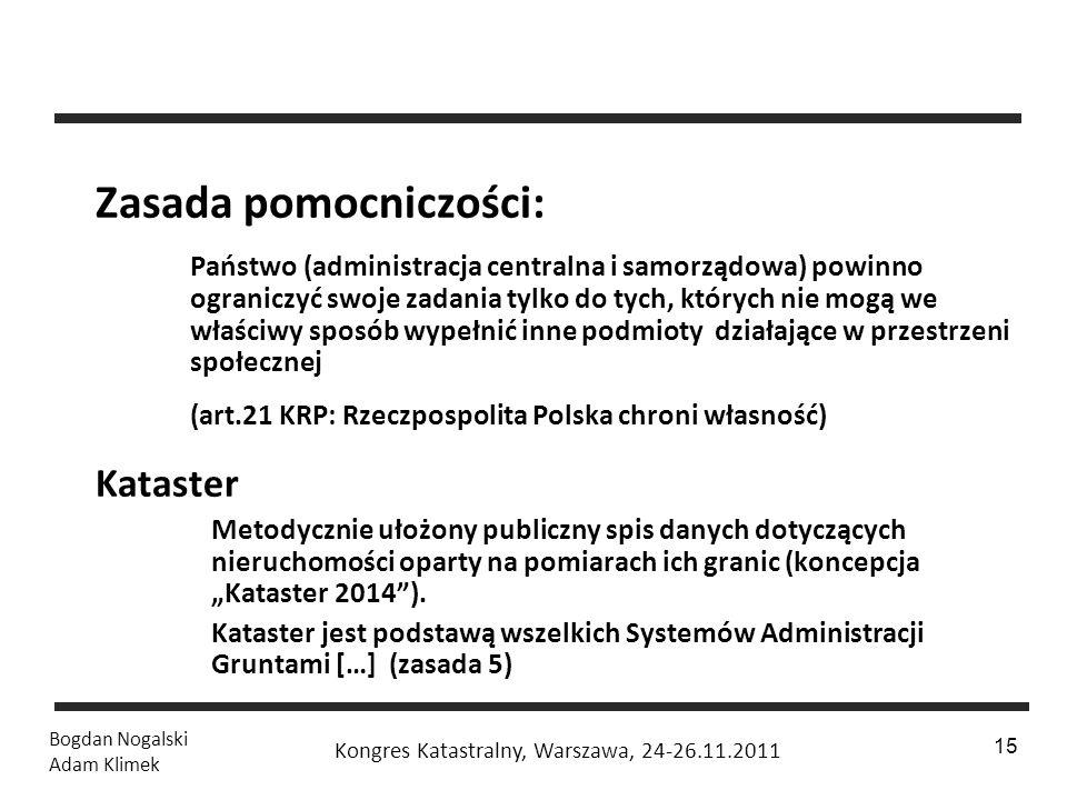 1 / 24 Bogdan Nogalski Adam Klimek Kongres Katastralny, Warszawa, 24-26.11.2011 15 Zasada pomocniczości: Państwo (administracja centralna i samorządow
