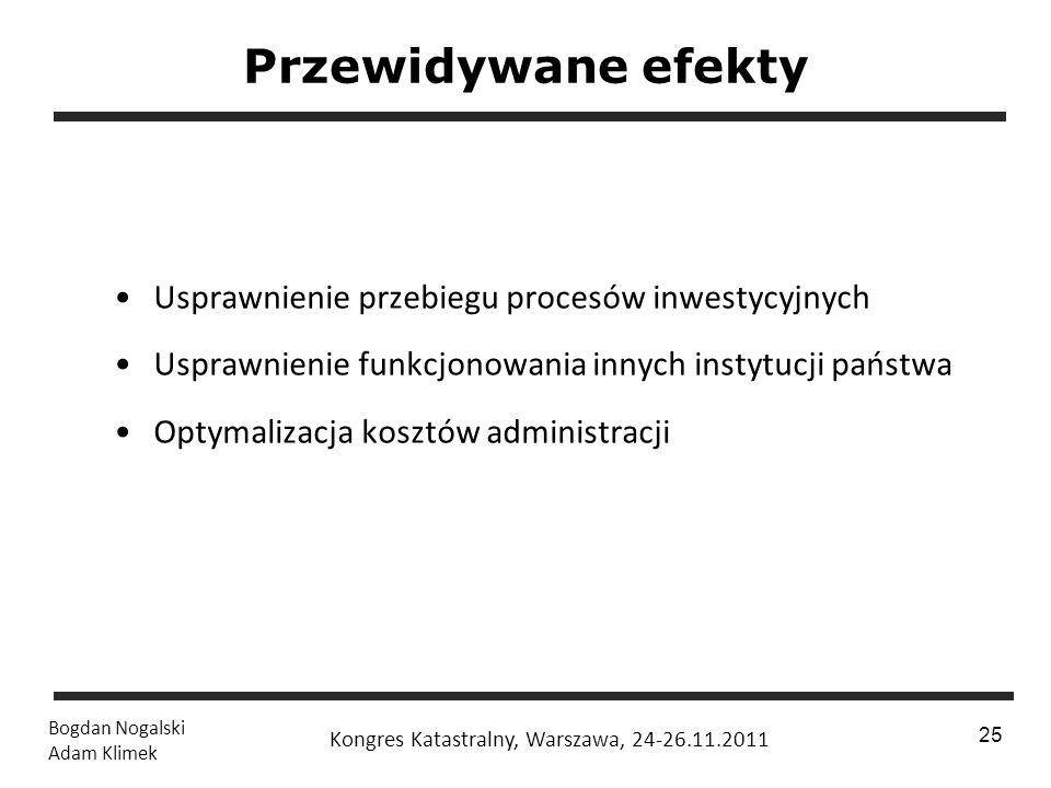 1 / 24 Bogdan Nogalski Adam Klimek Kongres Katastralny, Warszawa, 24-26.11.2011 25 Przewidywane efekty Usprawnienie przebiegu procesów inwestycyjnych