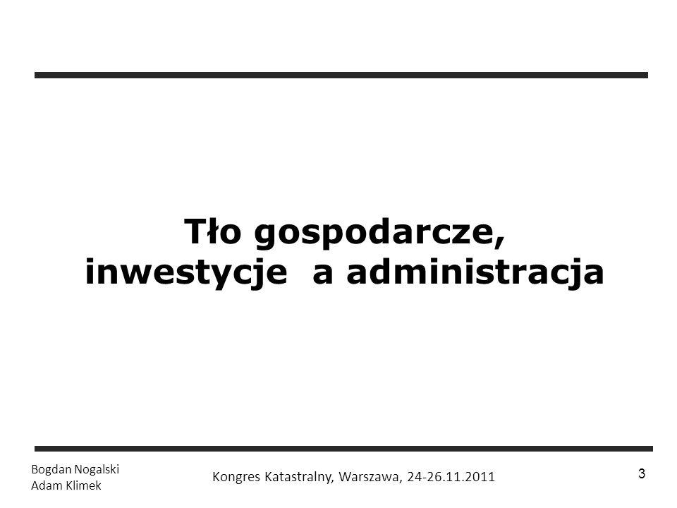 1 / 24 Bogdan Nogalski Adam Klimek Kongres Katastralny, Warszawa, 24-26.11.2011 3 Tło gospodarcze, inwestycje a administracja