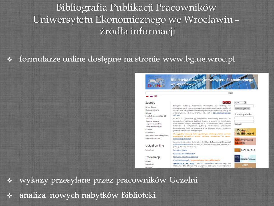 Bibliografia Publikacji Pracowników Uniwersytetu Ekonomicznego we Wrocławiu – źródła informacji źródła informacji formularze online dostępne na stroni