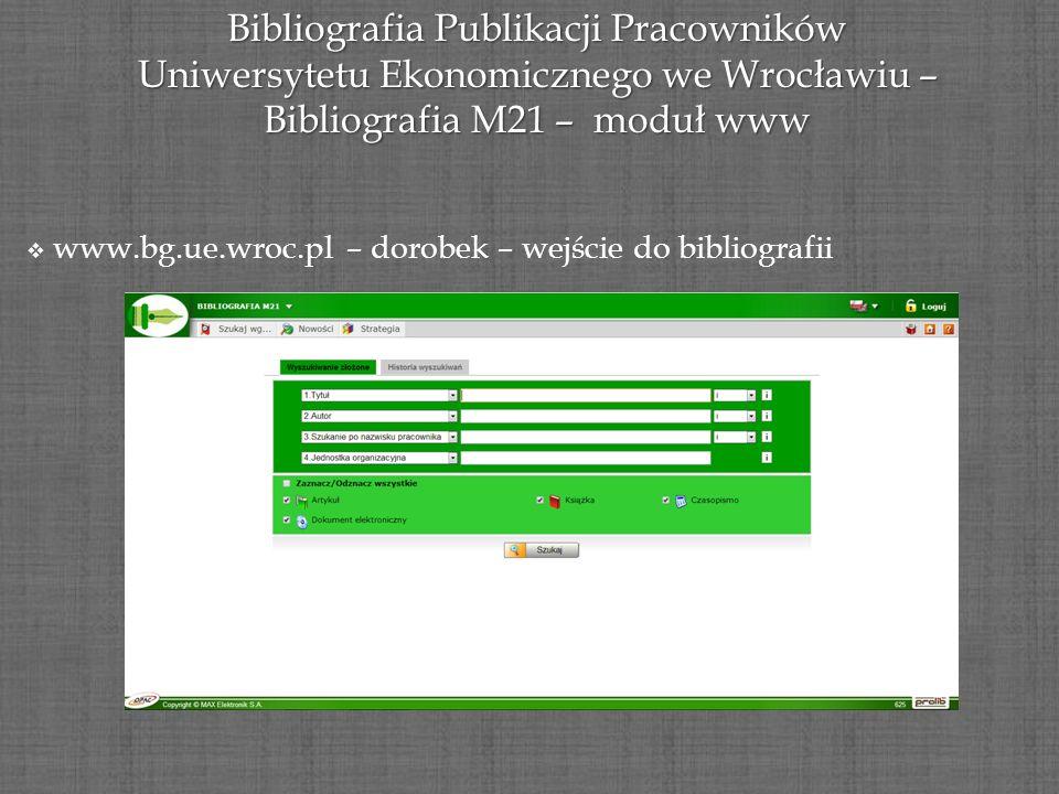 Bibliografia Publikacji Pracowników Uniwersytetu Ekonomicznego we Wrocławiu – Bibliografia M21 – moduł www www.bg.ue.wroc.pl – dorobek – wejście do bi