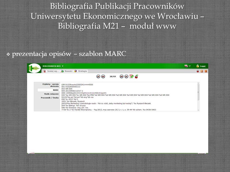 Bibliografia Publikacji Pracowników Uniwersytetu Ekonomicznego we Wrocławiu – Bibliografia M21 – moduł www prezentacja opisów – szablon MARC prezentac