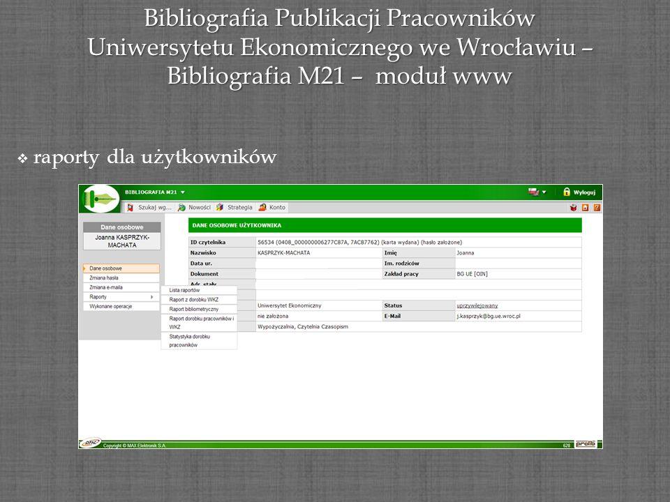 Bibliografia Publikacji Pracowników Uniwersytetu Ekonomicznego we Wrocławiu – Bibliografia M21 – moduł www raporty dla użytkowników