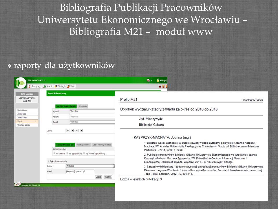 Bibliografia Publikacji Pracowników Uniwersytetu Ekonomicznego we Wrocławiu – Uniwersytetu Ekonomicznego we Wrocławiu – Bibliografia M21 – moduł www r