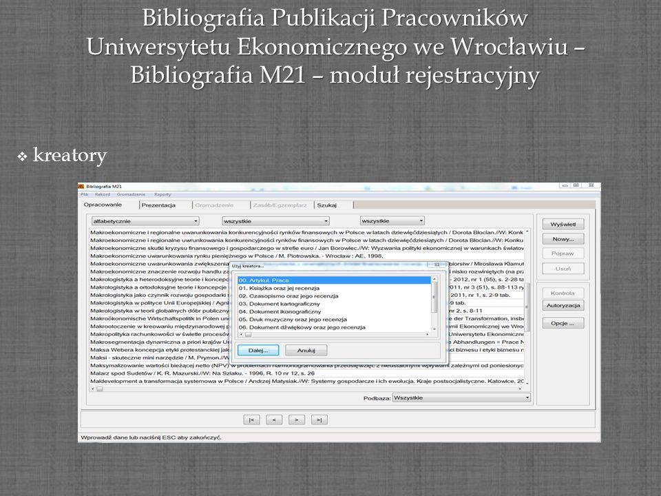 Bibliografia Publikacji Pracowników Uniwersytetu Ekonomicznego we Wrocławiu – Bibliografia M21 – moduł rejestracyjny kreatory