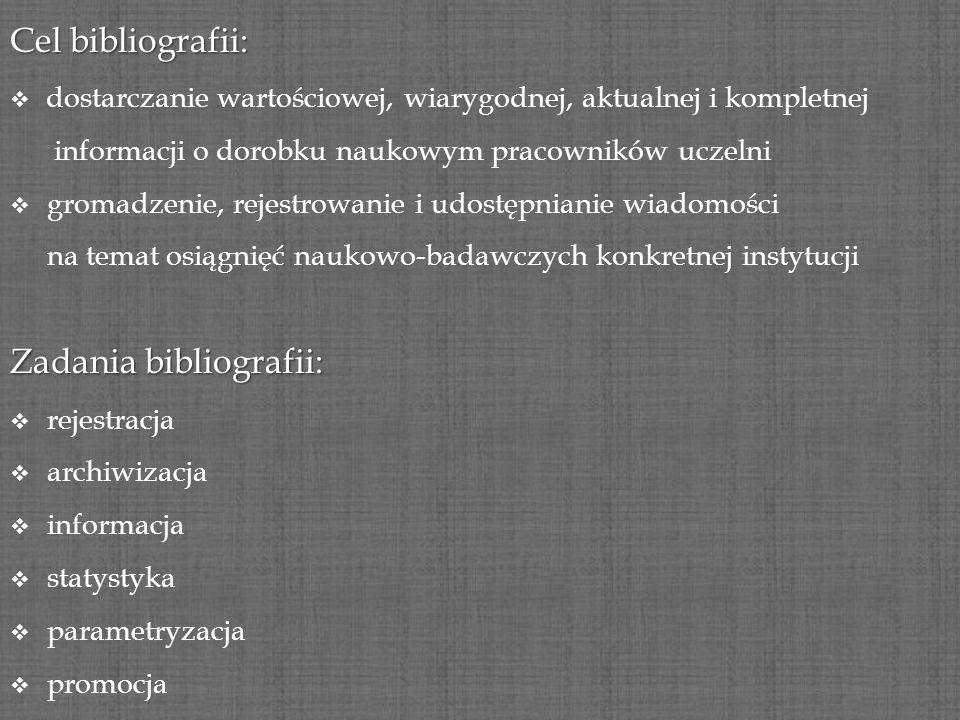Cel bibliografii: dostarczanie wartościowej, wiarygodnej, aktualnej i kompletnej informacji o dorobku naukowym pracowników uczelni gromadzenie, rejest