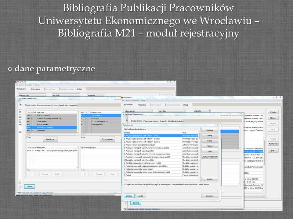 Bibliografia Publikacji Pracowników Uniwersytetu Ekonomicznego we Wrocławiu – Bibliografia M21 – moduł rejestracyjny dane parametryczne dane parametry