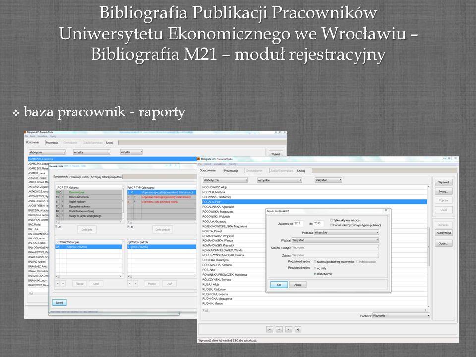 Bibliografia Publikacji Pracowników Uniwersytetu Ekonomicznego we Wrocławiu – Bibliografia M21 – moduł rejestracyjny baza pracownik - raporty
