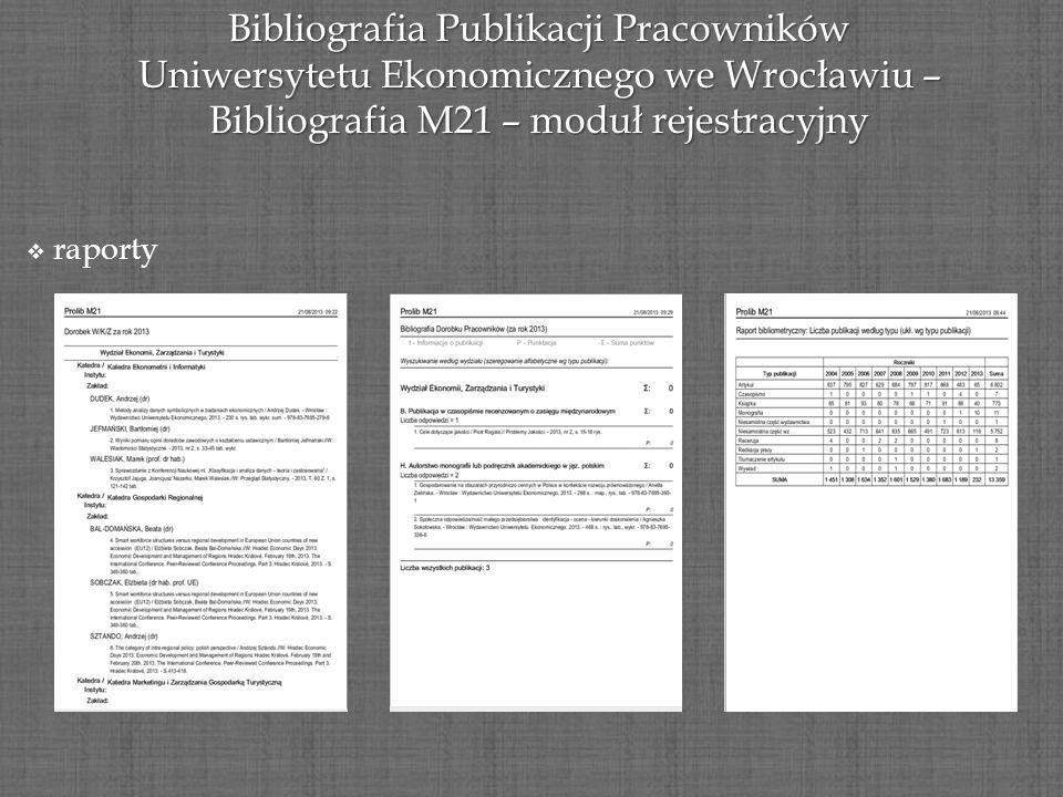 Bibliografia Publikacji Pracowników Uniwersytetu Ekonomicznego we Wrocławiu – Bibliografia M21 – moduł rejestracyjny raporty