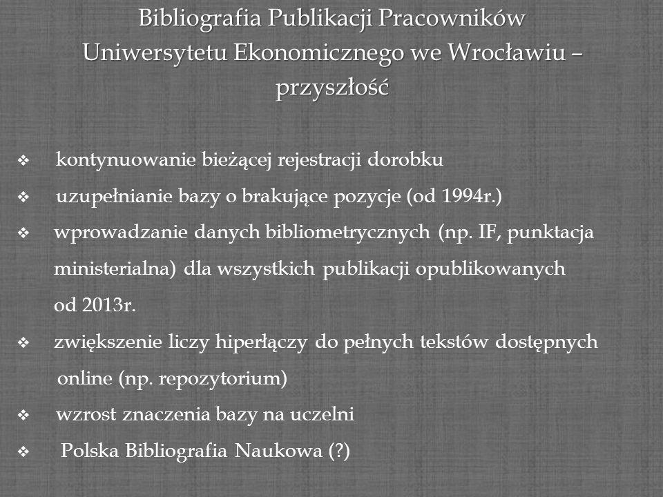 Bibliografia Publikacji Pracowników Uniwersytetu Ekonomicznego we Wrocławiu – przyszłość kontynuowanie bieżącej rejestracji dorobku uzupełnianie bazy