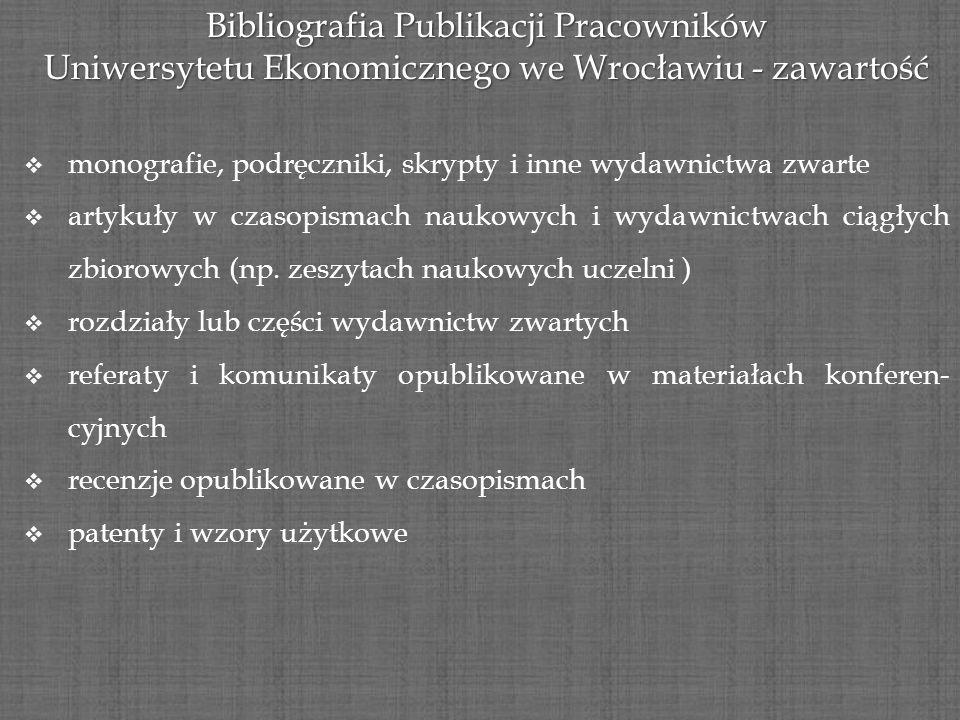 Bibliografia Publikacji Pracowników Uniwersytetu Ekonomicznego we Wrocławiu - zawartość monografie, podręczniki, skrypty i inne wydawnictwa zwarte art