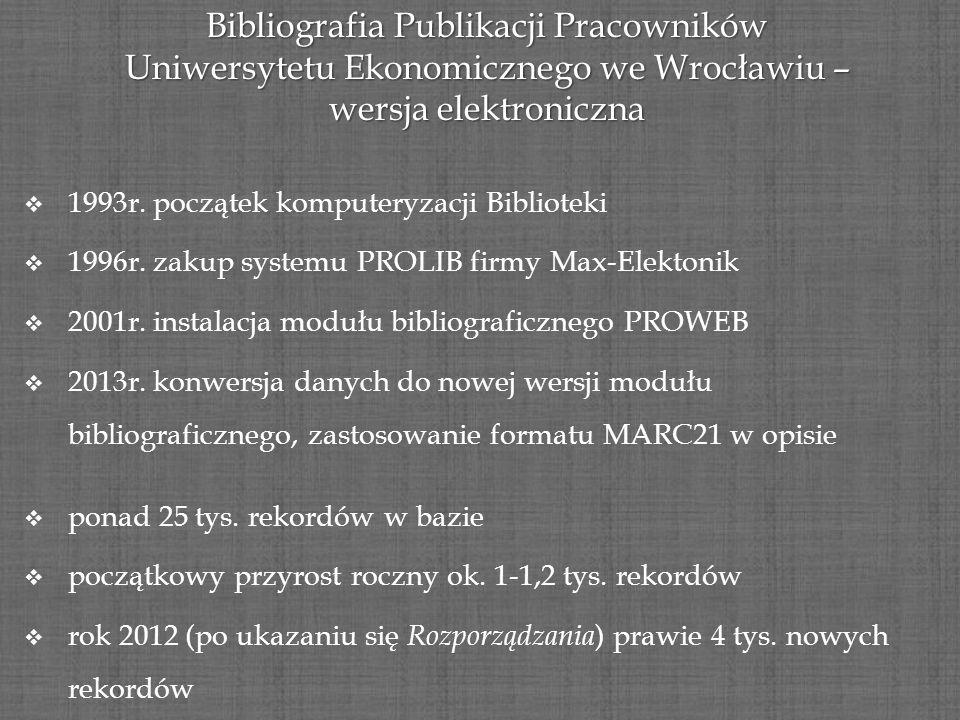 Bibliografia Publikacji Pracowników Uniwersytetu Ekonomicznego we Wrocławiu – wersja elektroniczna 1993r. początek komputeryzacji Biblioteki 1996r. za