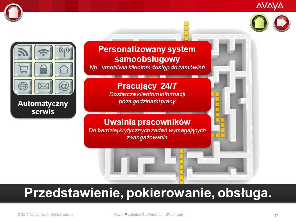 © 2012 Avaya Inc. All rights reserved. 36 Avaya - Restricted, Confidential and Proprietary Halo – w czym mogę pomóc ? Automatyczny serwis Automatyczny