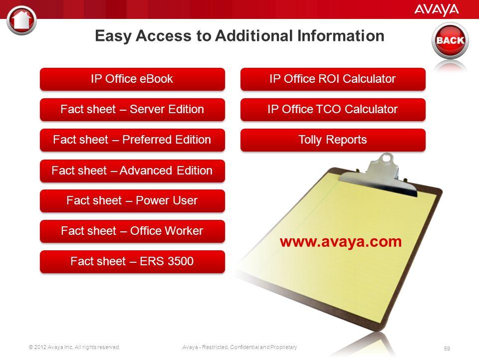 © 2012 Avaya Inc. All rights reserved. 58 Avaya - Restricted, Confidential and Proprietary Avaya IP Office Avaya Aura ® for Midsize Enterprise Prosty,