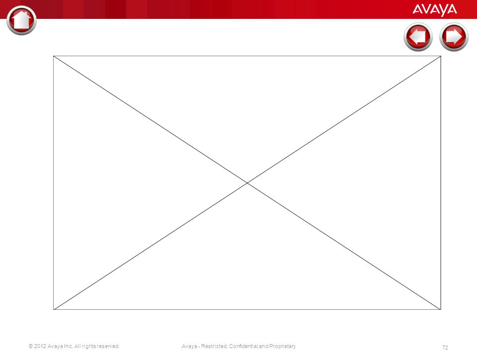 © 2012 Avaya Inc. All rights reserved. 72 Avaya - Restricted, Confidential and Proprietary