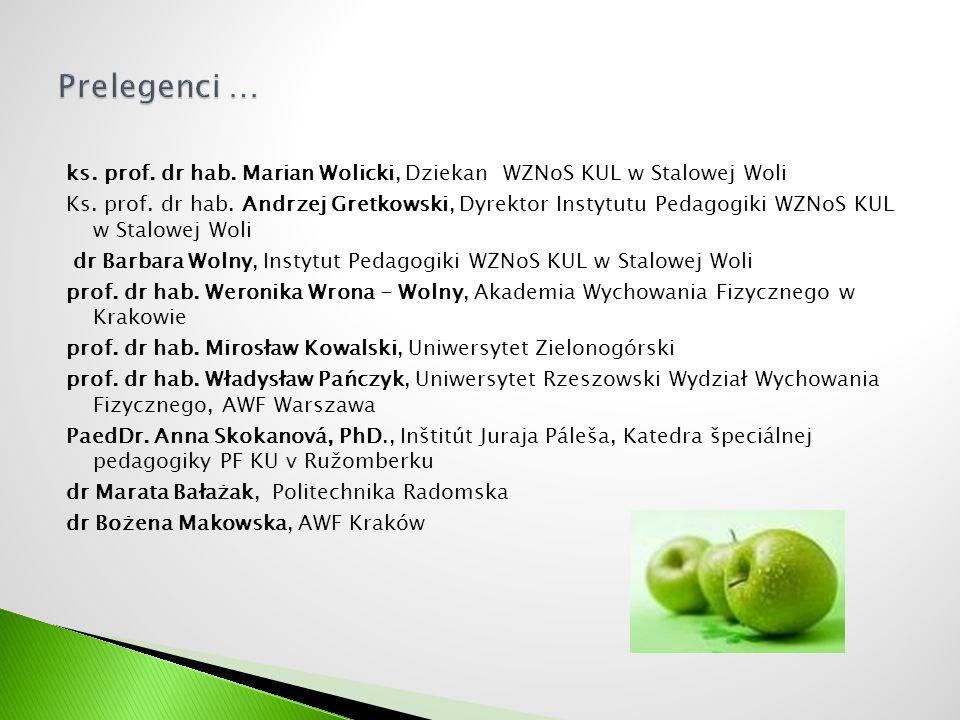 ks. prof. dr hab. Marian Wolicki, Dziekan WZNoS KUL w Stalowej Woli Ks. prof. dr hab. Andrzej Gretkowski, Dyrektor Instytutu Pedagogiki WZNoS KUL w St
