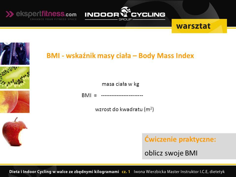 masa ciała w kg BMI = ------------------------ wzrost do kwadratu (m 2 ) BMI - wskaźnik masy ciała – Body Mass Index Ćwiczenie praktyczne: oblicz swoje BMI