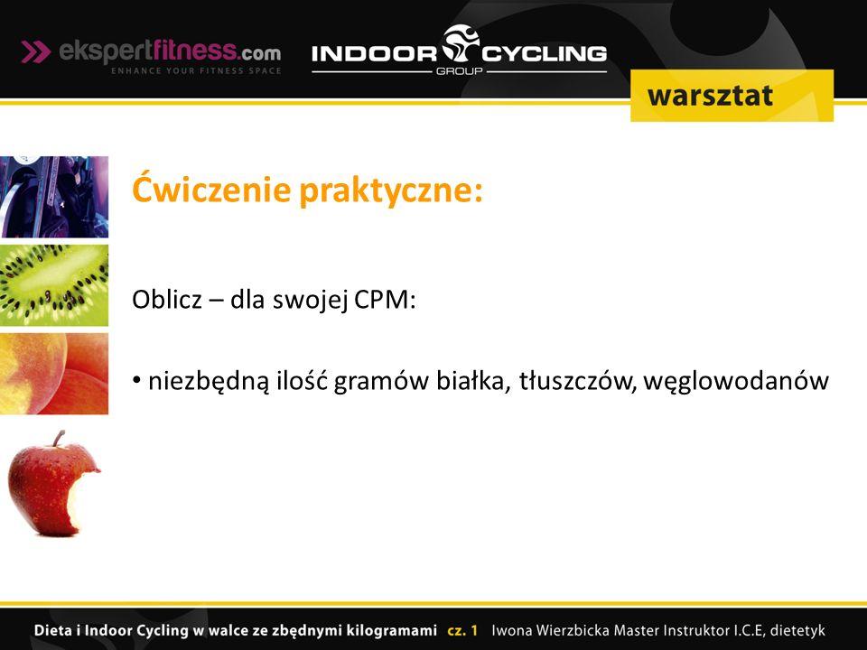 Ćwiczenie praktyczne: Oblicz – dla swojej CPM: niezbędną ilość gramów białka, tłuszczów, węglowodanów