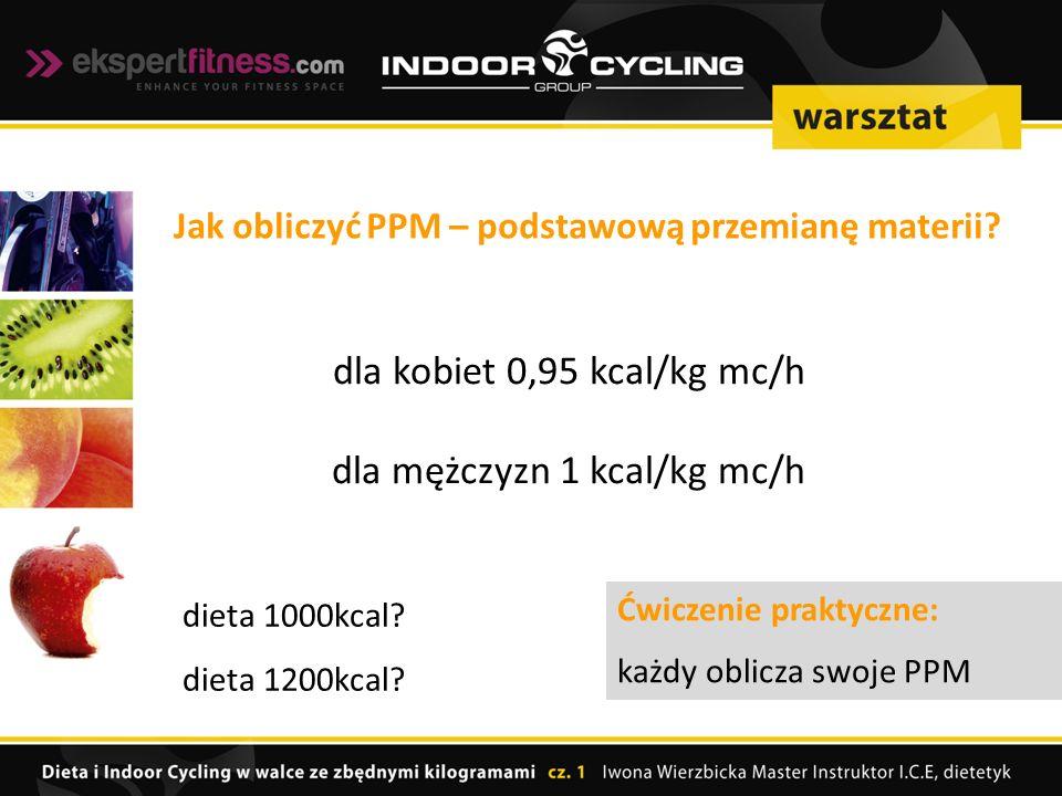 dla kobiet 0,95 kcal/kg mc/h dla mężczyzn 1 kcal/kg mc/h Jak obliczyć PPM – podstawową przemianę materii.
