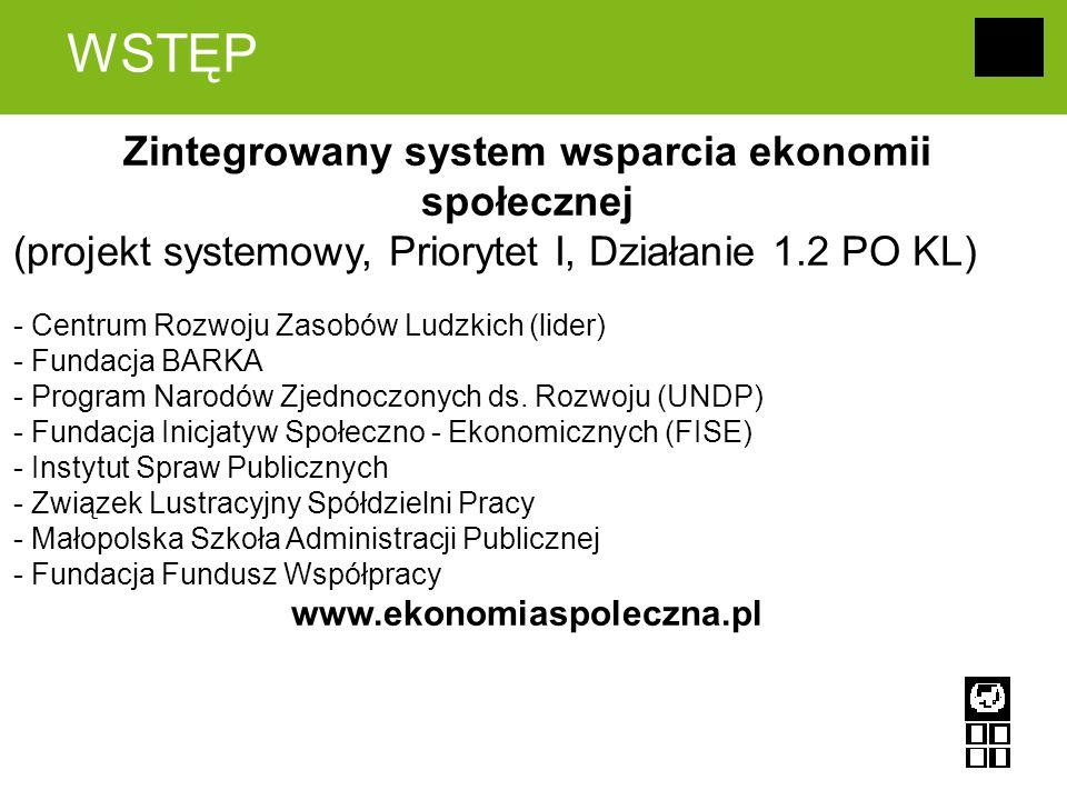 WSTĘP Zintegrowany system wsparcia ekonomii społecznej (projekt systemowy, Priorytet I, Działanie 1.2 PO KL) - Centrum Rozwoju Zasobów Ludzkich (lider) - Fundacja BARKA - Program Narodów Zjednoczonych ds.