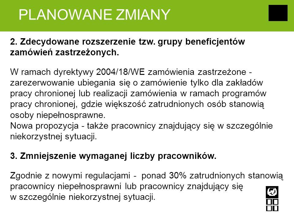 PLANOWANE ZMIANY 2. Zdecydowane rozszerzenie tzw. grupy beneficjentów zamówień zastrzeżonych. W ramach dyrektywy 2004/18/WE zamówienia zastrzeżone - z