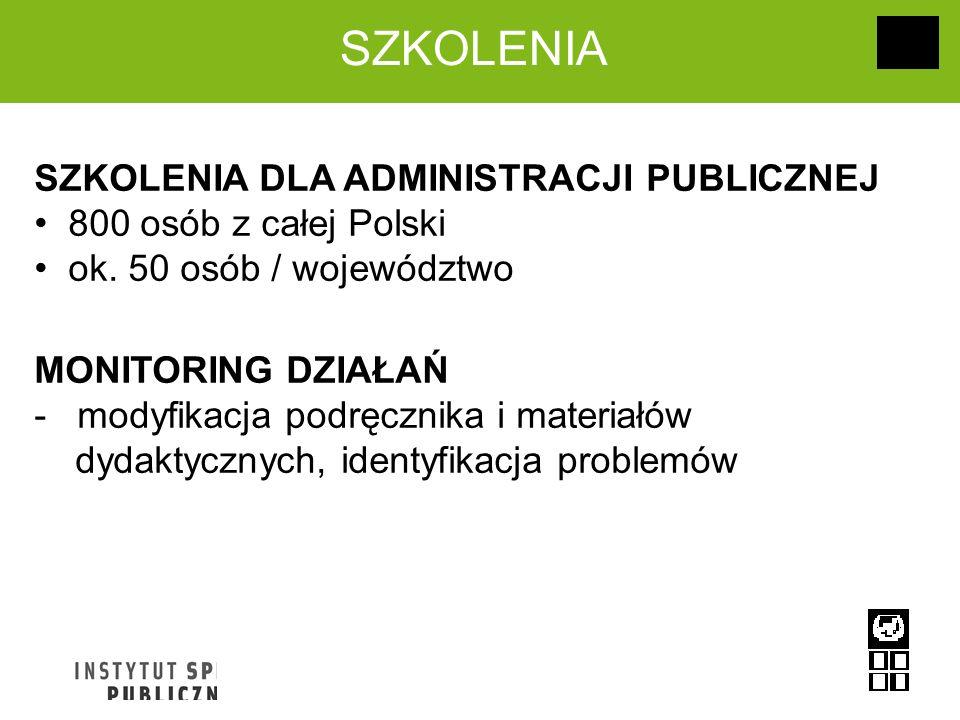 SZKOLENIA DLA ADMINISTRACJI PUBLICZNEJ 800 osób z całej Polski ok. 50 osób / województwo MONITORING DZIAŁAŃ - modyfikacja podręcznika i materiałów dyd