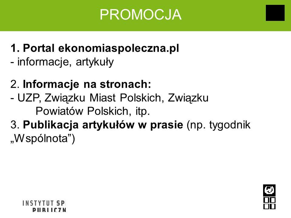 PROMOCJA 1. Portal ekonomiaspoleczna.pl - informacje, artykuły 2. Informacje na stronach: - UZP, Związku Miast Polskich, Związku Powiatów Polskich, it