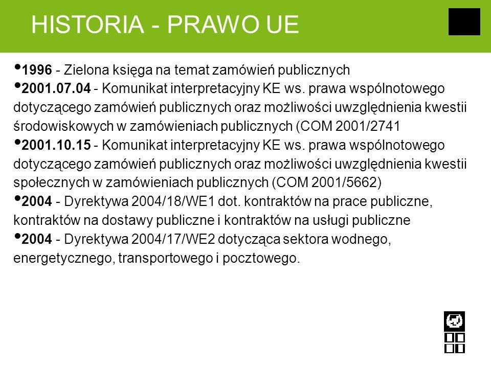 HISTORIA - PRAWO UE 1996 - Zielona księga na temat zamówień publicznych 2001.07.04 - Komunikat interpretacyjny KE ws. prawa wspólnotowego dotyczącego
