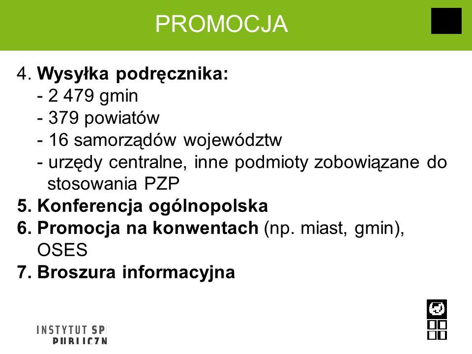 PROMOCJA 4. Wysyłka podręcznika: - 2 479 gmin - 379 powiatów - 16 samorządów województw - urzędy centralne, inne podmioty zobowiązane do stosowania PZ