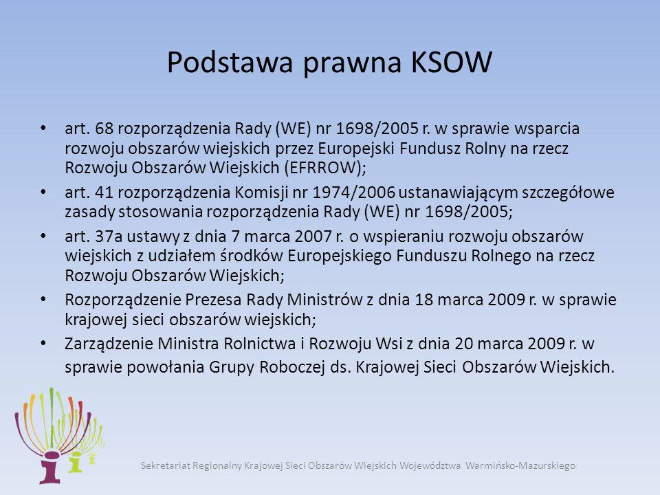Sekretariat Regionalny Krajowej Sieci Obszarów Wiejskich Województwa Warmińsko-Mazurskiego Cel główny KSOW wsparcie wdrażania i oceny polityki w zakresie rozwoju obszarów wiejskich oraz identyfikacja, analiza, rozpowszechnianie oraz wymiana informacji i wiedzy w tym zakresie wśród wszystkich zainteresowanych partnerów na poziomie lokalnym, regionalnym oraz wspólnotowym (zgodnie z PROW 2007-2013)