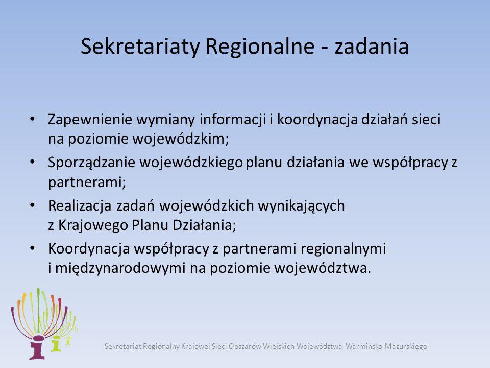 Sekretariat Regionalny Krajowej Sieci Obszarów Wiejskich Województwa Warmińsko-Mazurskiego Sekretariaty Regionalne - zadania Zapewnienie wymiany informacji i koordynacja działań sieci na poziomie wojewódzkim; Sporządzanie wojewódzkiego planu działania we współpracy z partnerami; Realizacja zadań wojewódzkich wynikających z Krajowego Planu Działania; Koordynacja współpracy z partnerami regionalnymi i międzynarodowymi na poziomie województwa.