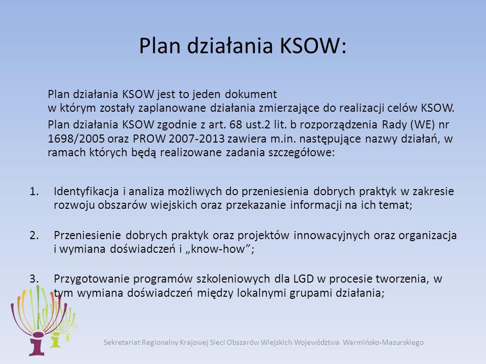 Sekretariat Regionalny Krajowej Sieci Obszarów Wiejskich Województwa Warmińsko-Mazurskiego Plan działania KSOW: Plan działania KSOW jest to jeden dokument w którym zostały zaplanowane działania zmierzające do realizacji celów KSOW.