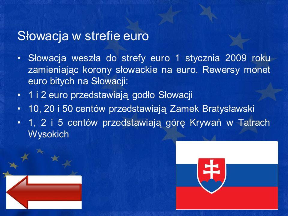 Słowacja w strefie euro Słowacja weszła do strefy euro 1 stycznia 2009 roku zamieniając korony słowackie na euro. Rewersy monet euro bitych na Słowacj