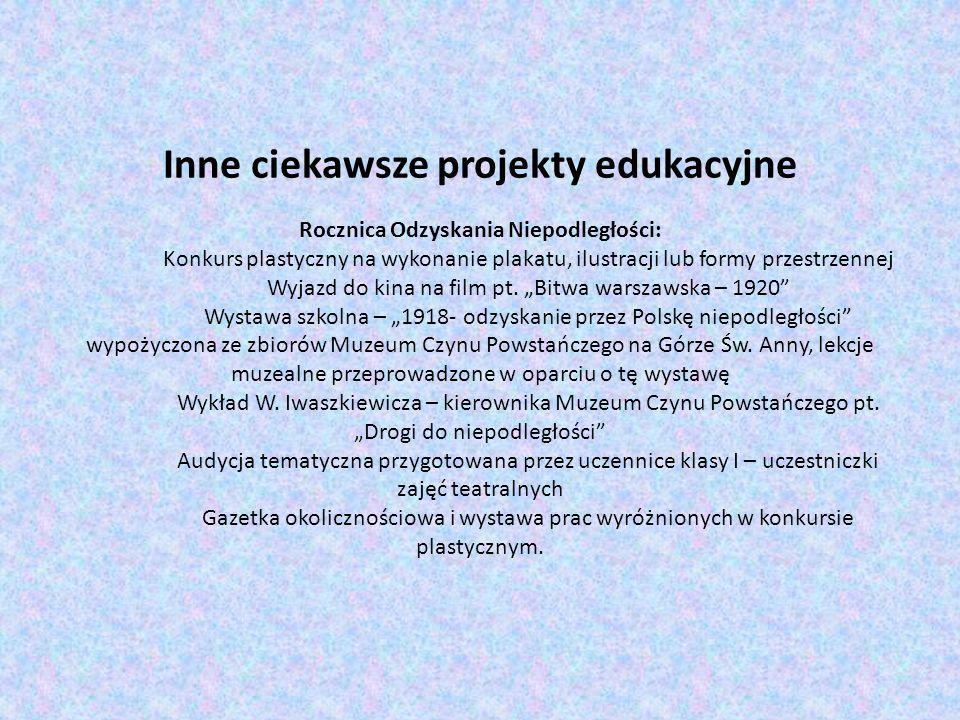 Inne ciekawsze projekty edukacyjne Rocznica Odzyskania Niepodległości: Konkurs plastyczny na wykonanie plakatu, ilustracji lub formy przestrzennej Wyj