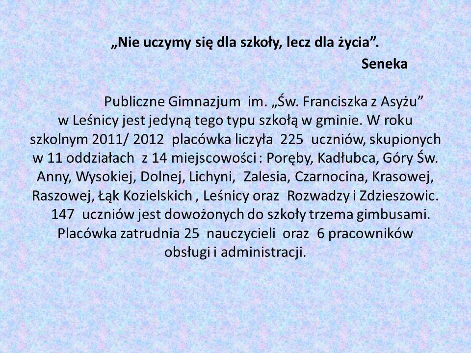 Nie uczymy się dla szkoły, lecz dla życia. Seneka Publiczne Gimnazjum im. Św. Franciszka z Asyżu w Leśnicy jest jedyną tego typu szkołą w gminie. W ro