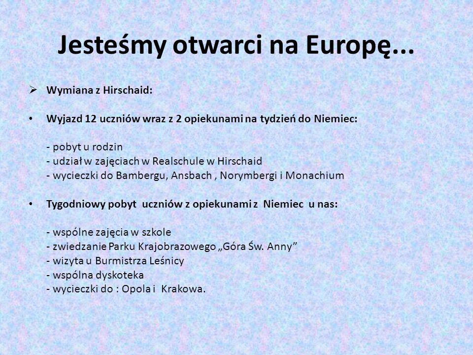 Jesteśmy otwarci na Europę... Wymiana z Hirschaid: Wyjazd 12 uczniów wraz z 2 opiekunami na tydzień do Niemiec: - pobyt u rodzin - udział w zajęciach
