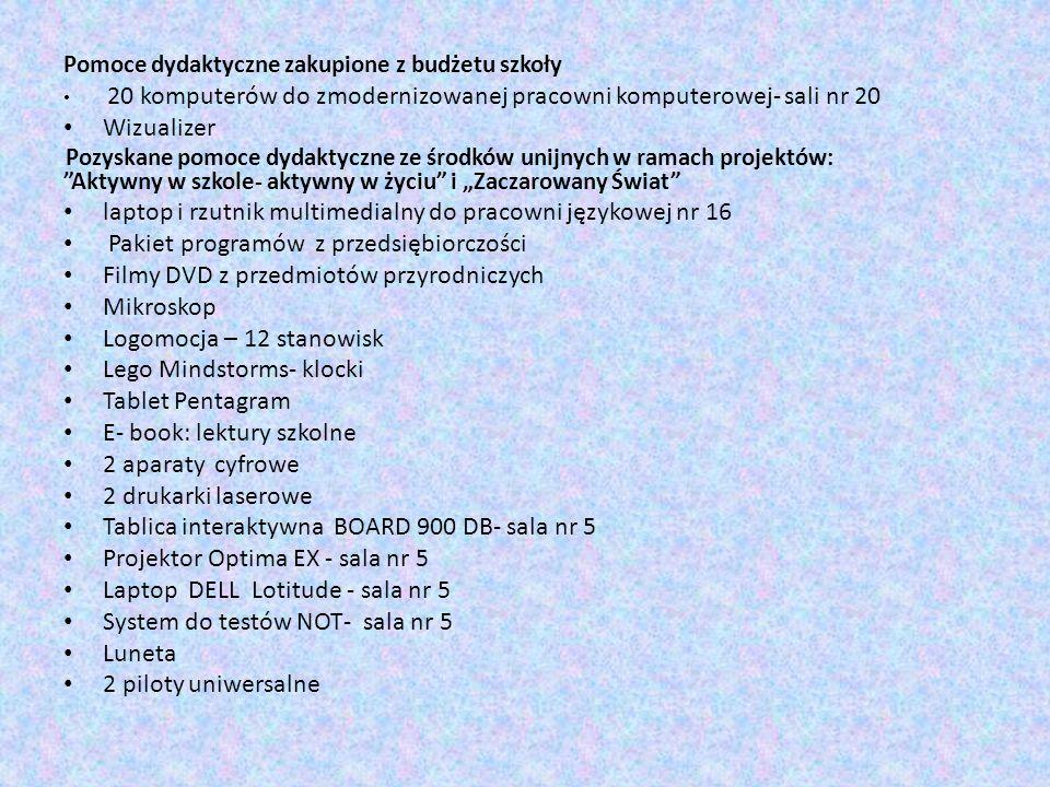 Pomoce dydaktyczne zakupione z budżetu szkoły 20 komputerów do zmodernizowanej pracowni komputerowej- sali nr 20 Wizualizer Pozyskane pomoce dydaktycz