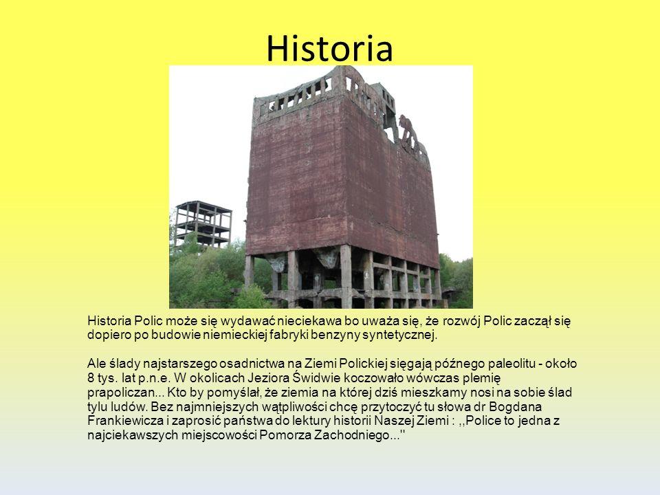 Historia Historia Polic może się wydawać nieciekawa bo uważa się, że rozwój Polic zaczął się dopiero po budowie niemieckiej fabryki benzyny syntetyczn