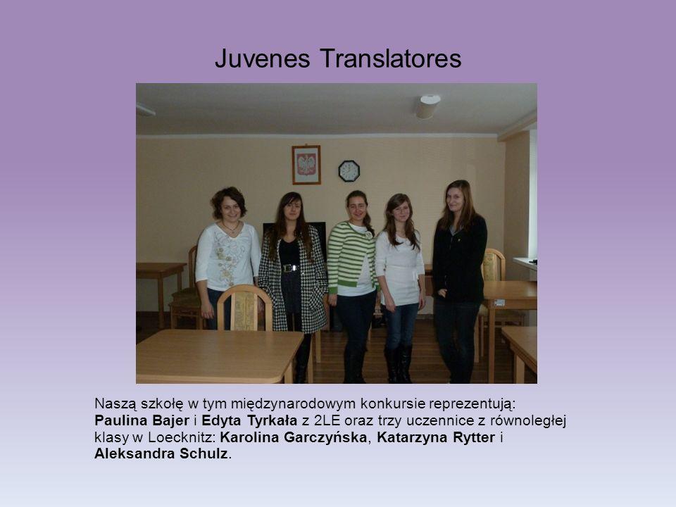 Naszą szkołę w tym międzynarodowym konkursie reprezentują: Paulina Bajer i Edyta Tyrkała z 2LE oraz trzy uczennice z równoległej klasy w Loecknitz: Ka