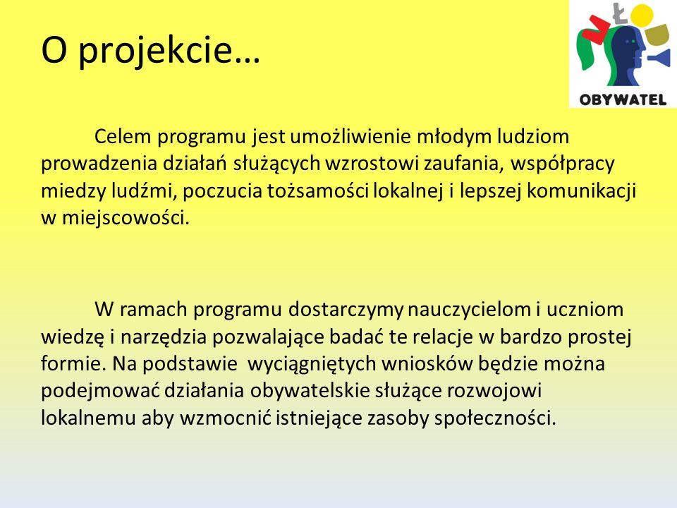 O projekcie… Celem programu jest umożliwienie młodym ludziom prowadzenia działań służących wzrostowi zaufania, współpracy miedzy ludźmi, poczucia tożs