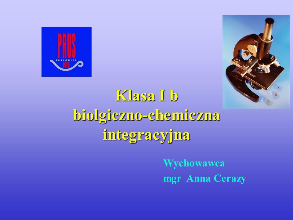 Wychowawca mgr Anna Cerazy Klasa I b biolgiczno-chemiczna integracyjna