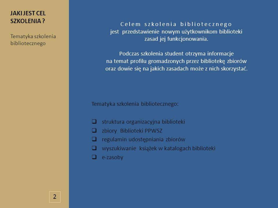 Celem szkolenia bibliotecznego jest przedstawienie nowym użytkownikom biblioteki zasad jej funkcjonowania. Podczas szkolenia student otrzyma informacj