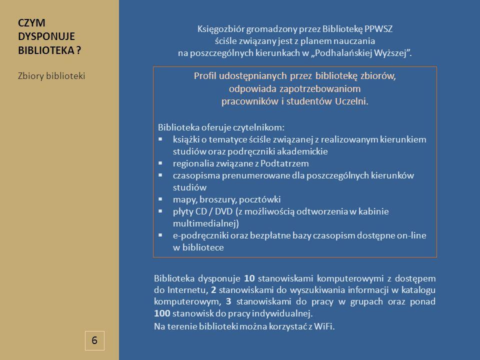 Księgozbiór gromadzony przez Bibliotekę PPWSZ ściśle związany jest z planem nauczania na poszczególnych kierunkach w Podhalańskiej Wyższej. Biblioteka