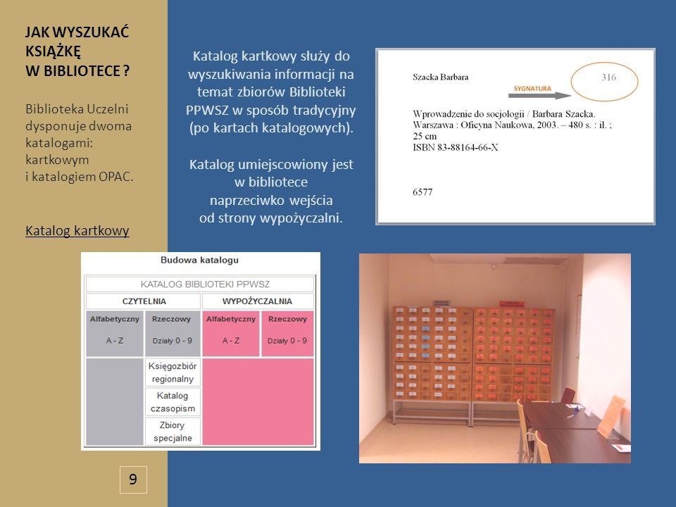 Katalog kartkowy służy do wyszukiwania informacji na temat zbiorów Biblioteki PPWSZ w sposób tradycyjny (po kartach katalogowych). Katalog umiejscowio