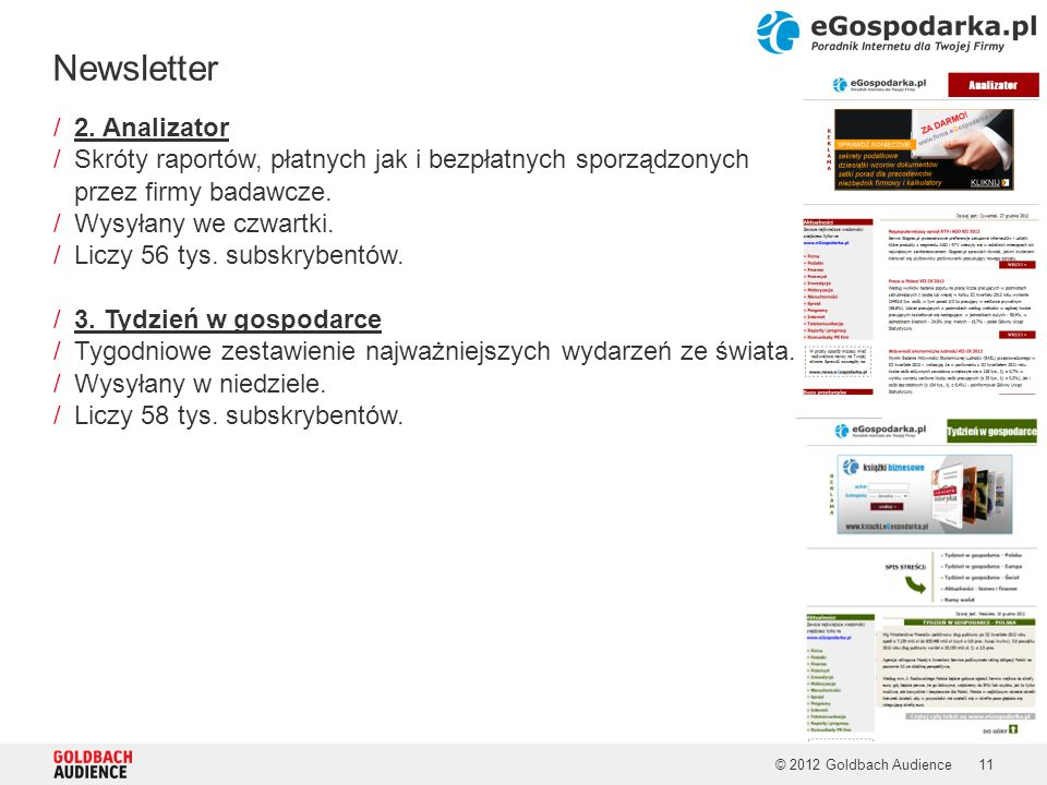 © 2012 Goldbach Audience11 /2. Analizator /Skróty raportów, płatnych jak i bezpłatnych sporządzonych przez firmy badawcze. /Wysyłany we czwartki. /Lic