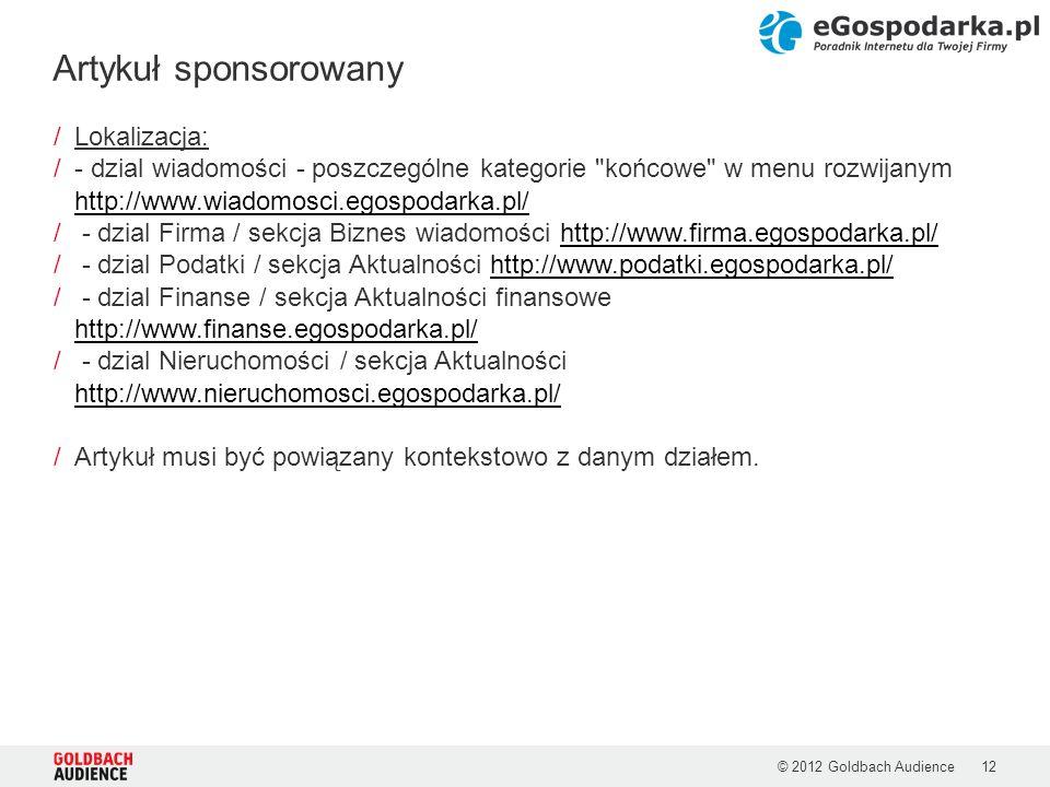 © 2012 Goldbach Audience12 /Lokalizacja: /- dzial wiadomości - poszczególne kategorie
