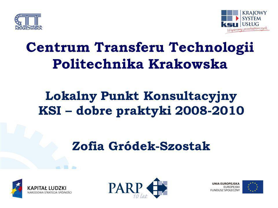 Centrum Transferu Technologii Politechnika Krakowska Lokalny Punkt Konsultacyjny KSI – dobre praktyki 2008-2010 Zofia Gródek-Szostak