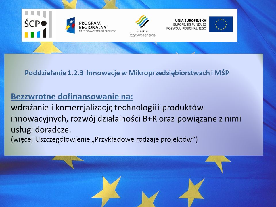 Poddziałanie 1.2.3 Innowacje w Mikroprzedsiębiorstwach i MŚP Bezzwrotne dofinansowanie na: wdrażanie i komercjalizację technologii i produktów innowacyjnych, rozwój działalności B+R oraz powiązane z nimi usługi doradcze.